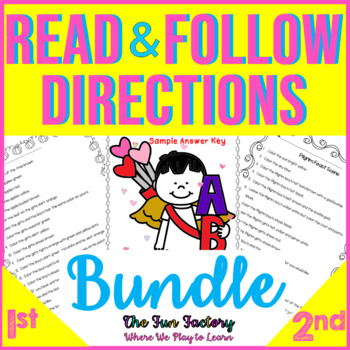 Read and Follow Directions, *BUNDLE* JUST PRINT, NO PREP, 1st & 2nd Grades