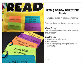 Read and Follow Directions Cards and Printable