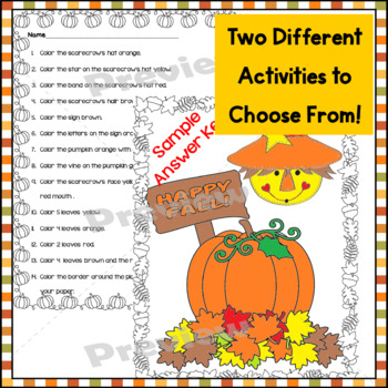 Halloween ~Read and Follow Directions, Just Print, No Prep, 1st & 2nd