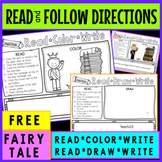 Read Color Reading Comprehension Fairy Tales Princess and the Pea