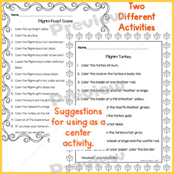 Read and Follow Directions ~Thanksgiving~  JUST PRINT, NO PREP,  1st & 2nd