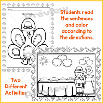 Read and Follow Directions Activities, Thanksgiving 1st and 2nd Grades