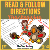 Read and Color Reading Comprehension  Following Directions |Turkey Thanksgiving