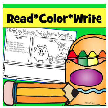Reading Comprehension and Follow Directions - Read, Color, Write CVC