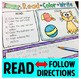 Reading Comprehension and Follow Directions - Read, Color,