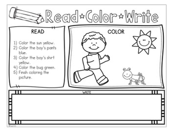 Read and Follow Directions - Read, Color, Write  Vol. 2