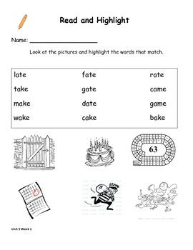 Read and Highlight 1st Grade Treasures Unit 3