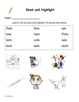 Read and Highlight 1st Grade Treasures Unit 4
