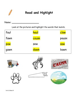 Read and Highlight 1st Grade Treasures Unit 6