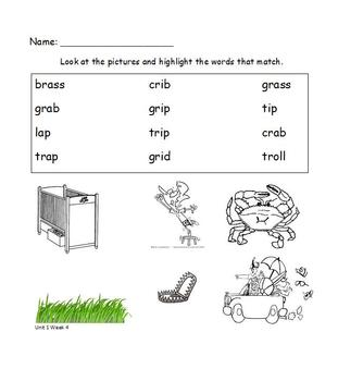 Read and Highlight  1st grade Treasures Unit One Lists