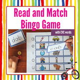 Read and Match Bingo Game with CVC Words First Grade Phoni