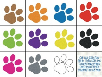 Read and Match Color Words with Paw Prints!
