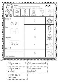 Read and Match  {Primer Sight Words Sentences} NO PREP Printables