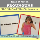 Read and Match Pronouns in Sentences (he she they)