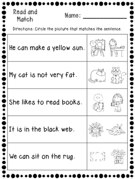 Read and Match Reading Activities