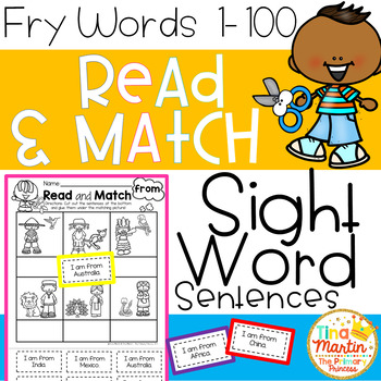 Read and Match Sight Word Sentences (Fry Words 1-100)