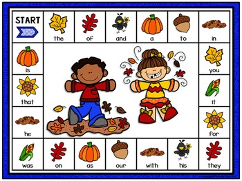 Read and Match Sight Words Editable Game Board - Fall Fun