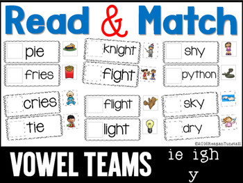 Read and Match Vowel Teams ie igh -y