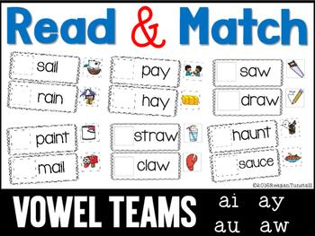 Read and Match Vowel Teams ai ay au aw