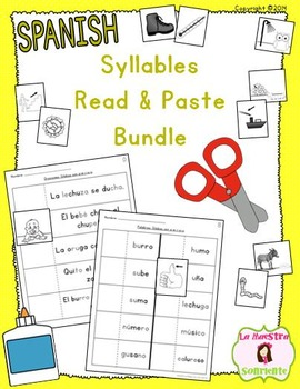 Read and Paste Syllable Activities BUNDLE (Spanish)