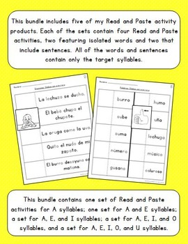 read and paste syllable activities bundle spanish by la maestra sonriente. Black Bedroom Furniture Sets. Home Design Ideas