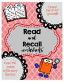 Read and Recall Comprehension Worksheets