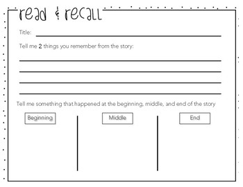 Read and Recall Story Retelling Handout
