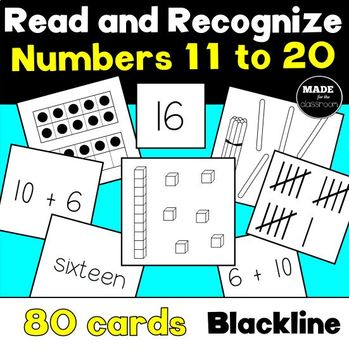 Read and Recognize TEEN NUMBERS Matching Cards