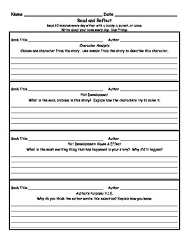 Read and Reflect Weekly Reading Homework