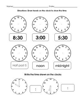 Read and Represent Time Worksheet