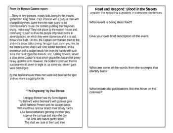 Read and Respond-Boston Massacre