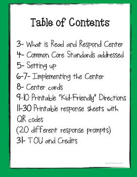 Comprehension Kindergarten Response