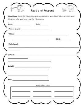 Read and Respond Homework Sheet