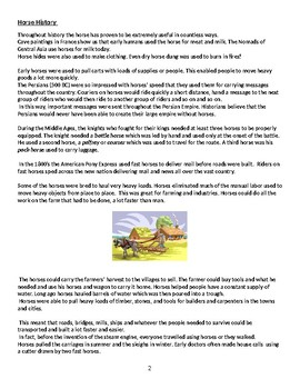 Read and Responsd Literacy Booklet About Horses