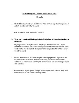 """Read and Response Questions for the movie """"Crash"""""""