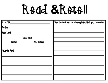 Read and Retell Accountability Sheet FREEBIE
