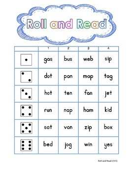 Roll and Read CVC- FREEBIE