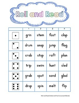 Roll and Read Consonant Blends (Initial, Final)- FREEBIE