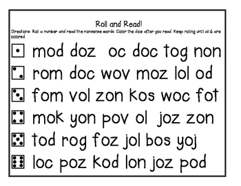 Read and Roll Nonsense Word Fluency Packet