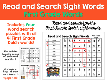 Read and Search Sight Words - Dolch First Grade Words - Word Work, RTI & more!