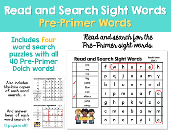 Read and Search Sight Words - Dolch Pre-Primer Words - Word Work, RTI & more!