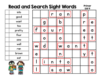 Read and Search Sight Words - Dolch Primer Sight Words - Word Work, RTI & more!