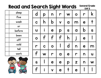 Read and Search Sight Words- Dolch Second Grade Words - Word Work, RTI & more!