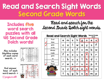 Read and Search Sight Words- Dolch Second Grade Words - Wo