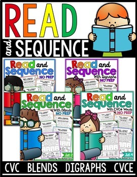 Read and Sequence (The Bundle) CVC, CVCe, Blends and Digraphs
