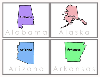 States of U.S. - Read and Spell Tracing Cards