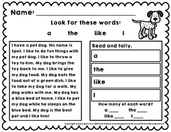 Read and Tally Sight Word Practice