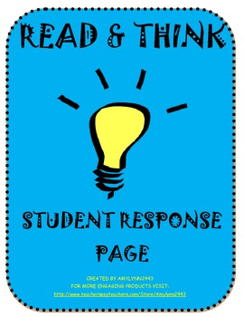 Read and Think Student Response Page