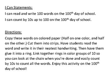Read and Write 100 Words on the 100th Day of School Chain
