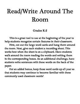 Read and Write Around the Room - Back to School
